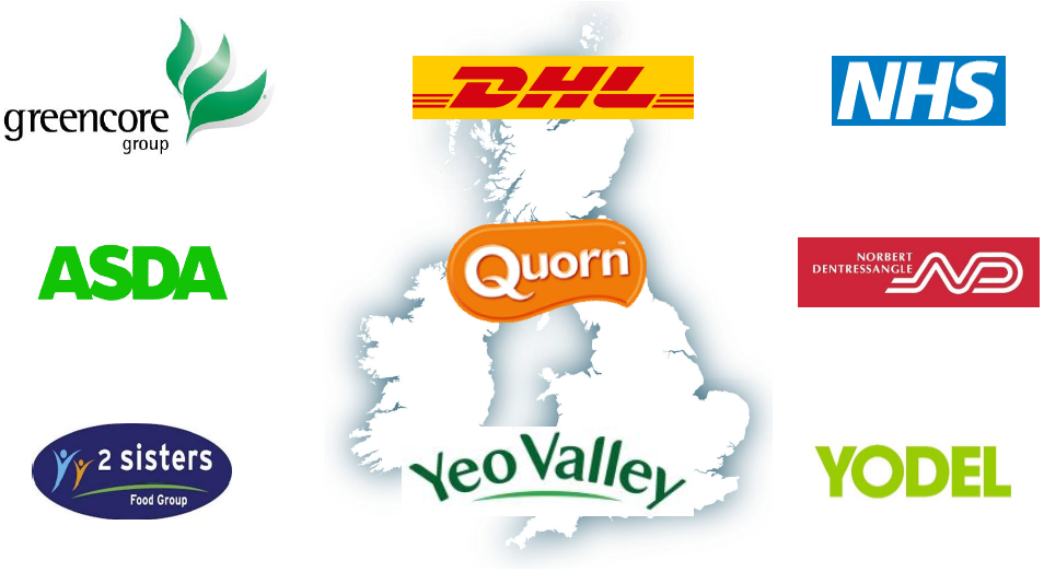 Greencore Group, DHL, NHS, ASDA, Quorn, Norbert Dentressangle, 2 sisters food group, Yeo Valley, Yodel